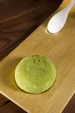 Traditional Japanese mochi with flavor of green tea Stock Image