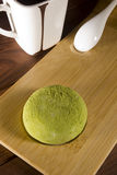 Traditional Japanese mochi with flavor of green tea Royalty Free Stock Photos