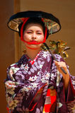 Traditional Japanese Musician. A Japanese Woman Performs Tradition Japanese music in a Period Dress royalty free stock photos