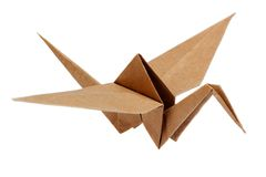 Traditional Japanese origami crane. Isolated on white stock photography