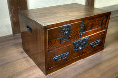 Traditional japanese ornated wooden chest Royalty Free Stock Photo