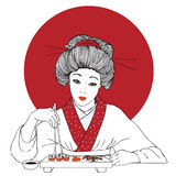 Traditional japanese pretty girl enjoy sushi Stock Photo