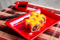 Traditional japanese roll with cheese Royalty Free Stock Photo