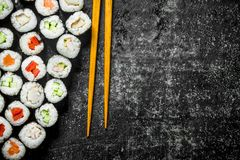 Traditional Japanese rolls stock images
