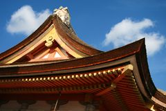 Traditional japanese roof. Japan style decorated roof with blue sky Stock Images