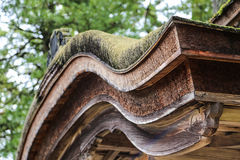 Traditional Japanese Roof Curve with Green Foliage Royalty Free Stock Photos