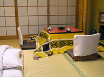 Traditional Japanese Room. Traditional Japanese Hotel Room - tea table with warmer on tatami Stock Photos