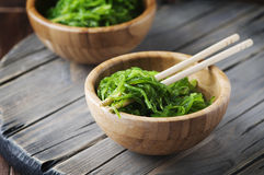 Traditional Japanese salad chuka on the wooden table Royalty Free Stock Photography