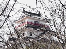White tower of traditional Japanese castle in Karatsu. Traditional Japanese samurai castle in Karatsu, Saga prefecture, Kyushu island royalty free stock photo
