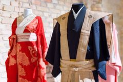 Traditional Japanese Samurai dress. Kimono costumes for man and woman on mannequins. Traditional Japanese Samurai dress. Kimono costumes for man and woman on Stock Photography