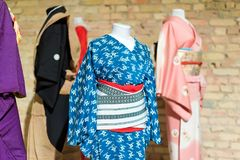Traditional Japanese Samurai dress. Kimono costumes for man and woman on mannequins. Traditional Japanese Samurai dress. Kimono costumes for man and woman on Stock Images
