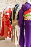 Traditional Japanese Samurai dress. Kimono costumes for man and woman on mannequins. Traditional Japanese Samurai dress. Kimono costumes for man and woman on Royalty Free Stock Photos