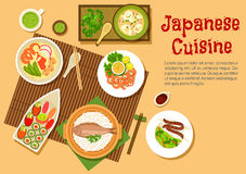Traditional japanese seafood dishes flat icon Stock Photo