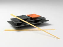 Traditional japanese set of chiha with sticks. 3D royalty free stock images