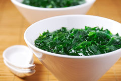 Traditional Japanese soup made of seaweed wakame. In white bowl Stock Photo