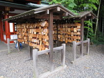 Traditional Japanese stand with small wooden plaques with wishes and prayers Royalty Free Stock Image