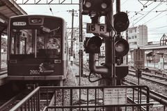 Traditional Japanese street car waiting in a station in Kyoto Japan stock photos