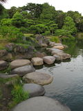 Traditional Japanese stroll garden with stepping stones. Traditional Japanese stroll garden - Kiyosumi Garden, located in Fukagawa, Tokyo, Japan. The central stock photo