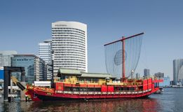 Traditional japanese style red boat at Tokyo bay. TOKYO, JAPAN - MARCH 24, 2014: Traditional japanese style red boat at Tokyo bay royalty free stock photos