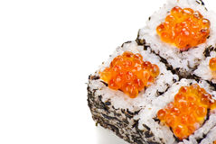 Traditional Japanese sushi with caviar on white Royalty Free Stock Photography