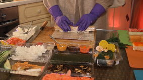 Traditional Japanese Sushi-Making process stock video footage