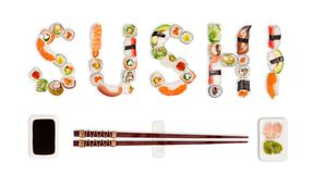 Traditional japanese sushi pieces making inscription. Very high resolution image stock image