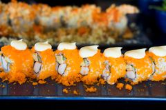 Traditional Japanese sushi roll with shrimp eggs Royalty Free Stock Photo