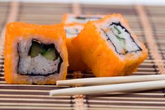 Traditional japanese sushi and rolls Royalty Free Stock Photography