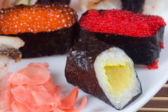 Traditional japanese sushi and rolls stock photos