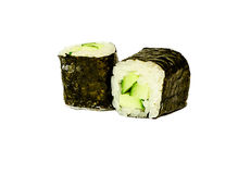 Traditional japanese sushi rolls with cucumber macro or close up. Isolated on white background Royalty Free Stock Photography
