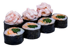 Traditional Japanese sushi rolls Stock Photography