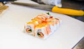 Traditional Japanese sushi rolls making Royalty Free Stock Images