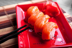 Traditional japanese sushi with salmon Stock Images