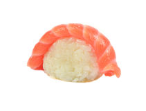 Traditional japanese sushi with salmon macro or close up. Isolated on white background Stock Image