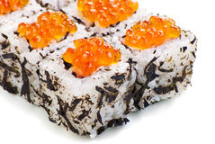 Traditional Japanese sushi on a white background Royalty Free Stock Image