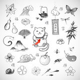 Traditional Japanese symbols of luck Stock Images