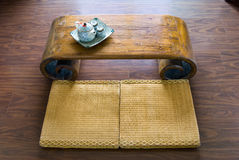 Traditional Japanese table and tea pot. Stock Image