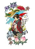 Traditional Japanese tattoo design for back body.Japanese women in kimono with her cat and Dragon.Hand drawn geisha girl stock illustration