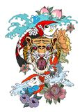 Traditional Japanese tattoo design for back body.Tiger face with koi dragon on cloud background.Koi fish with tiger roaring tattoo. Tiger face with koi dragon on Royalty Free Stock Photos