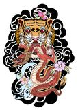 Traditional Japanese tattoo design for back body.Tiger face with old dragon on cloud background. Traditional Japanese tiger and dragon tattoo design for back Stock Images