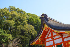 Traditional japanese temple roof. With blue sky Royalty Free Stock Photo