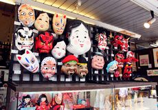 Traditional japanese theater masks Royalty Free Stock Photos