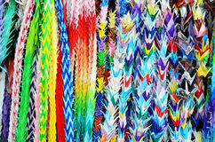 Traditional Japanese Thousand origami cranes for japan call Senb Stock Photo