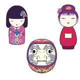 Traditional Japanese toys isolated drawing. Stock line vector il. Lustration.r Royalty Free Stock Photography
