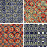Traditional Japanese vector patterns. Set of 4 different seamless patterns in old oriental style stock illustration