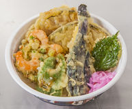Traditional Japanese vegetables Tendon with tempura in bowl Royalty Free Stock Photo