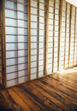 Traditional japanese wall and wooden floor interior Royalty Free Stock Photo