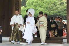 Traditional Japanese wedding. Traditional japanse wedding in Shibuya, Tokyo, at the Meiji shrine royalty free stock photos