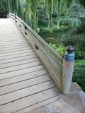 Japanese bridge in a park. Traditional Japanese wooden bridge in a garden Royalty Free Stock Photo