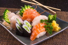 Traditional Japonese Food. With sushi, sashimi and rolls royalty free stock photography
